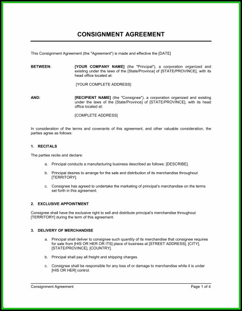 Consignment Agreement Template Australia