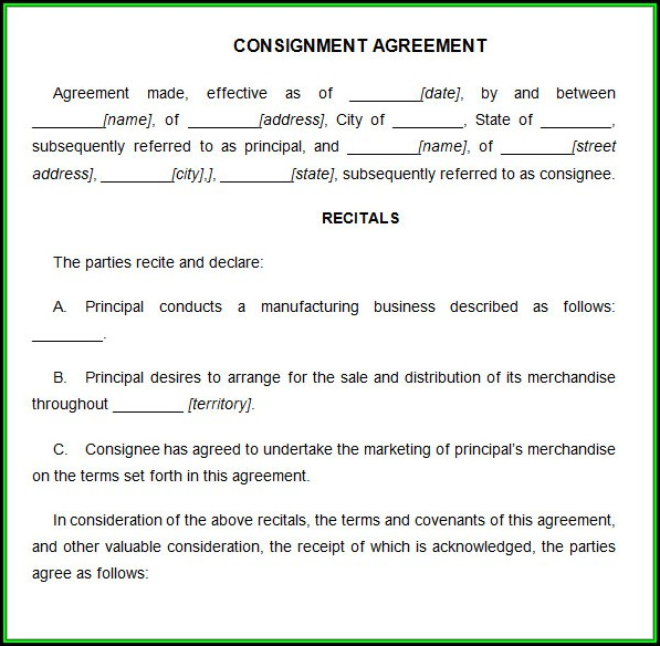 Consignment Agreement Template Doc
