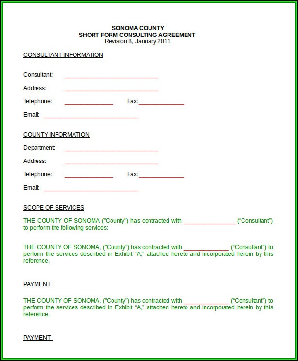 Consulting Agreement Short Form Template