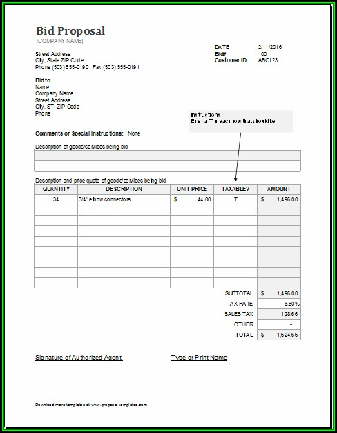 Contractor Proposal Template Excel