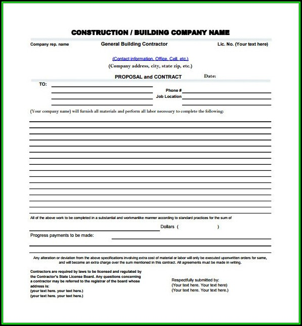 Contractor Proposal Template Pdf