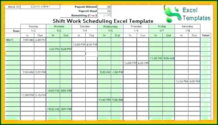 Daily Employee Shift Schedule Template Excel