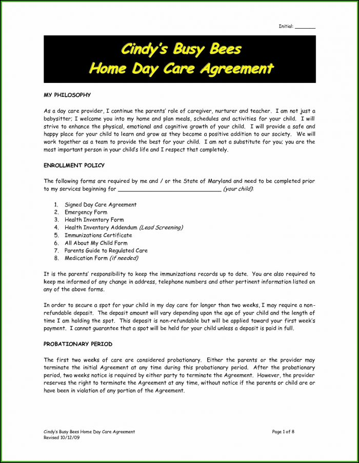 Daycare Contract Sample