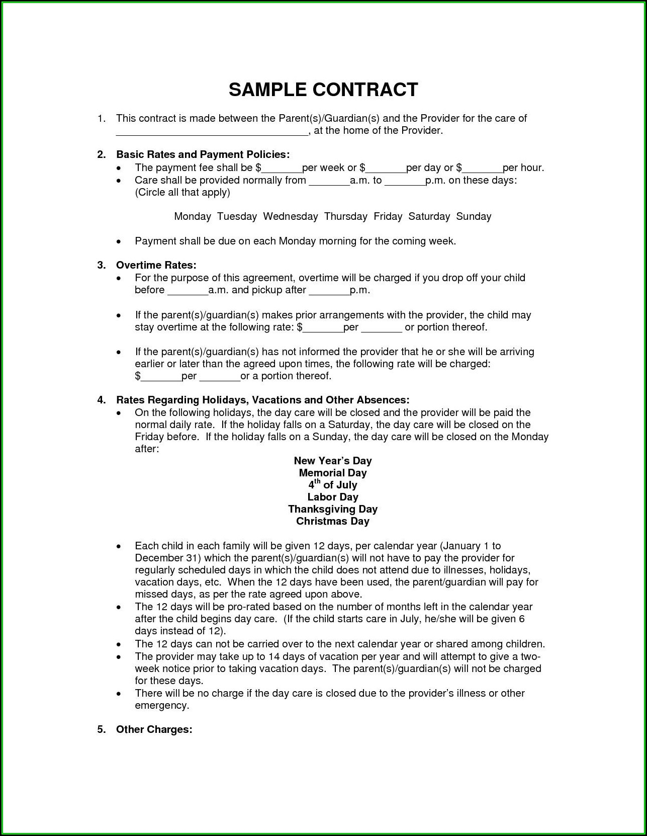 Daycare Contract Templates Ontario