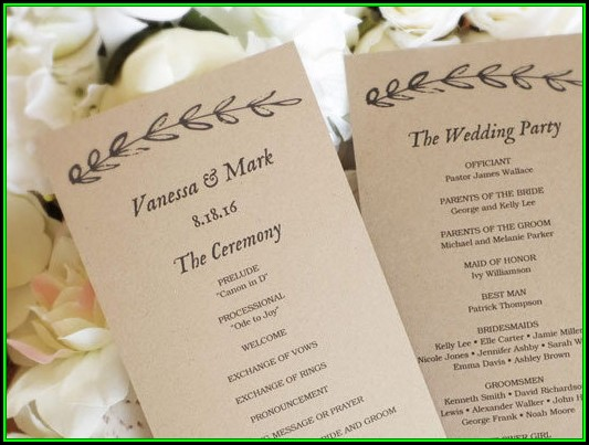 Diy Printable Wedding Program Template