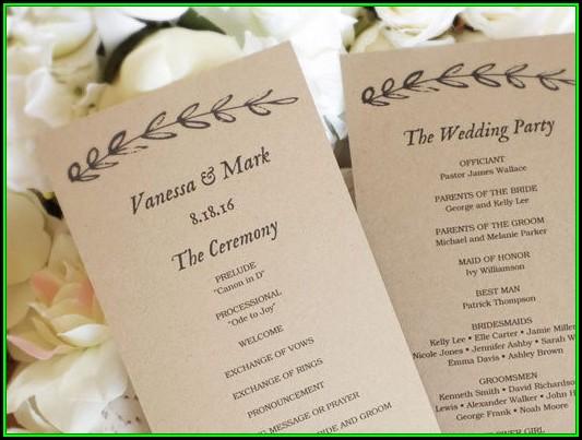 Diy Printable Wedding Program Template