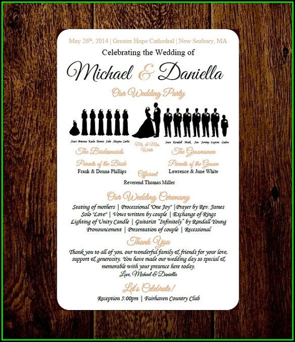 Diy Silhouette Wedding Program Template
