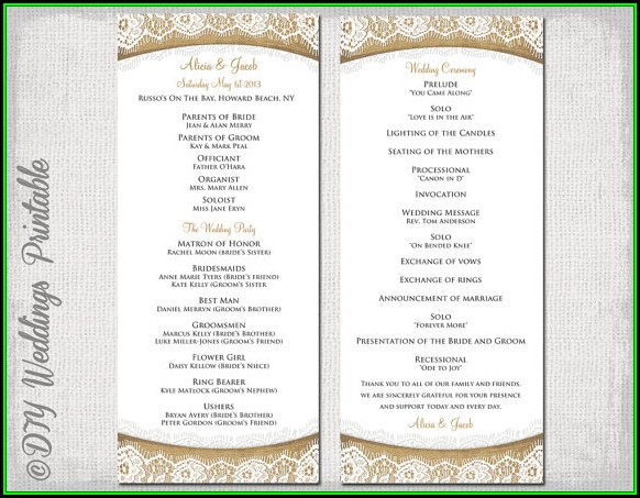 Diy Wedding Ceremony Program Template