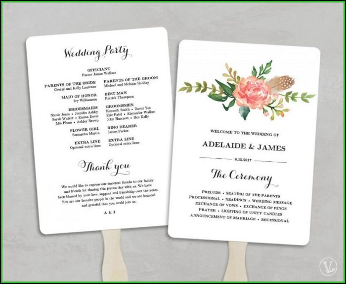 Diy Wedding Program Fans Template