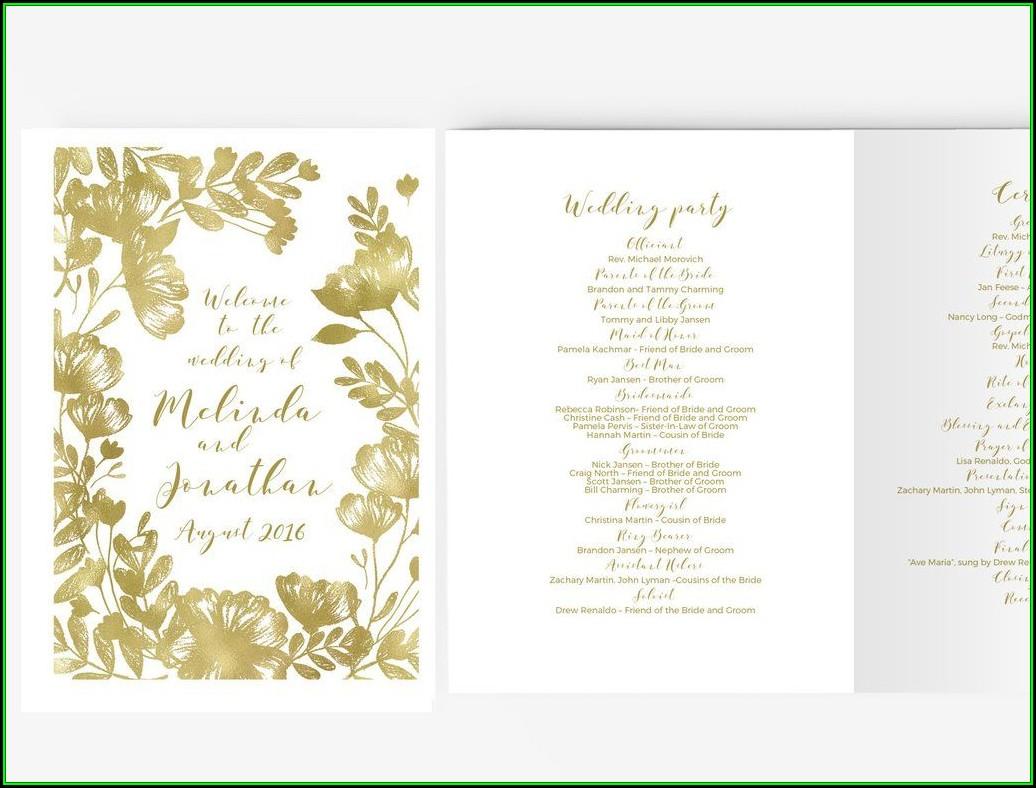 Diy Wedding Program Template Booklet