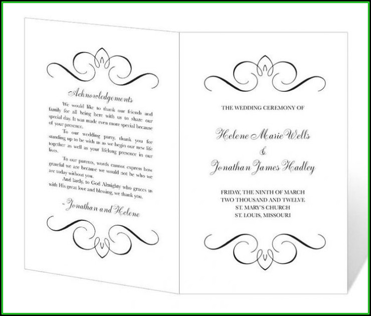 Diy Wedding Program Template Free
