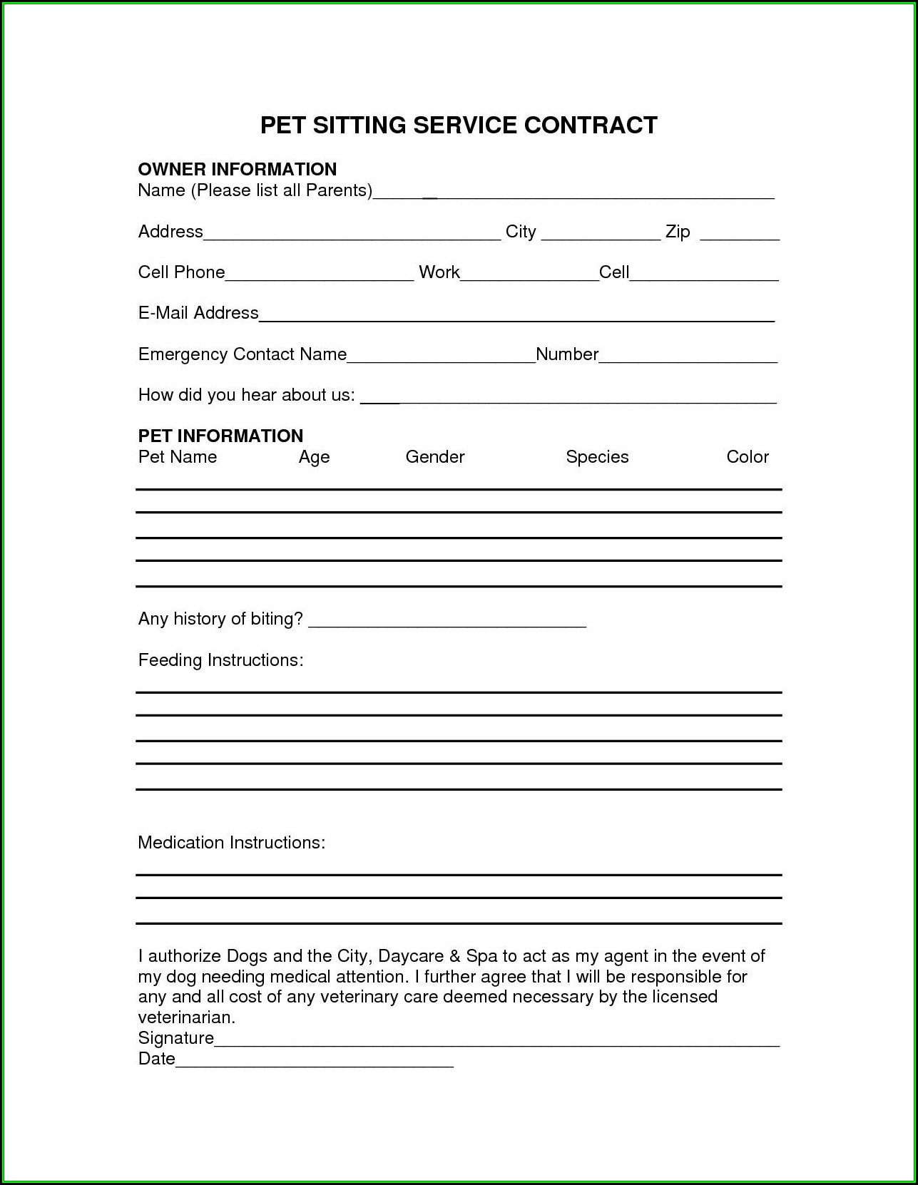 Dog Daycare Contract Template