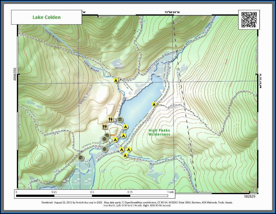 High Peaks Region Adirondacks Map