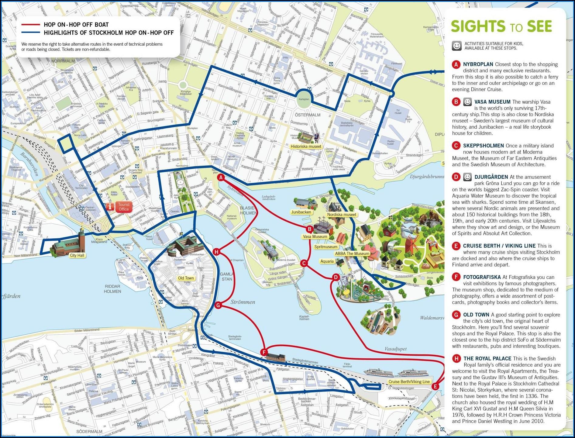 Hop On Hop Off Boat Stockholm Map