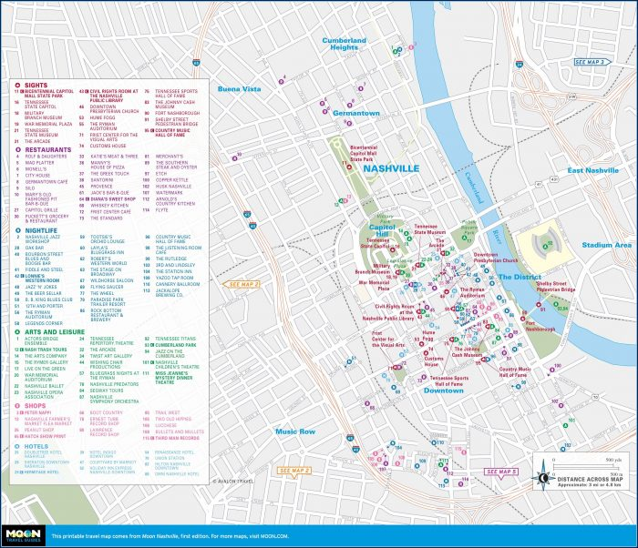 Hotels Downtown Nashville Map