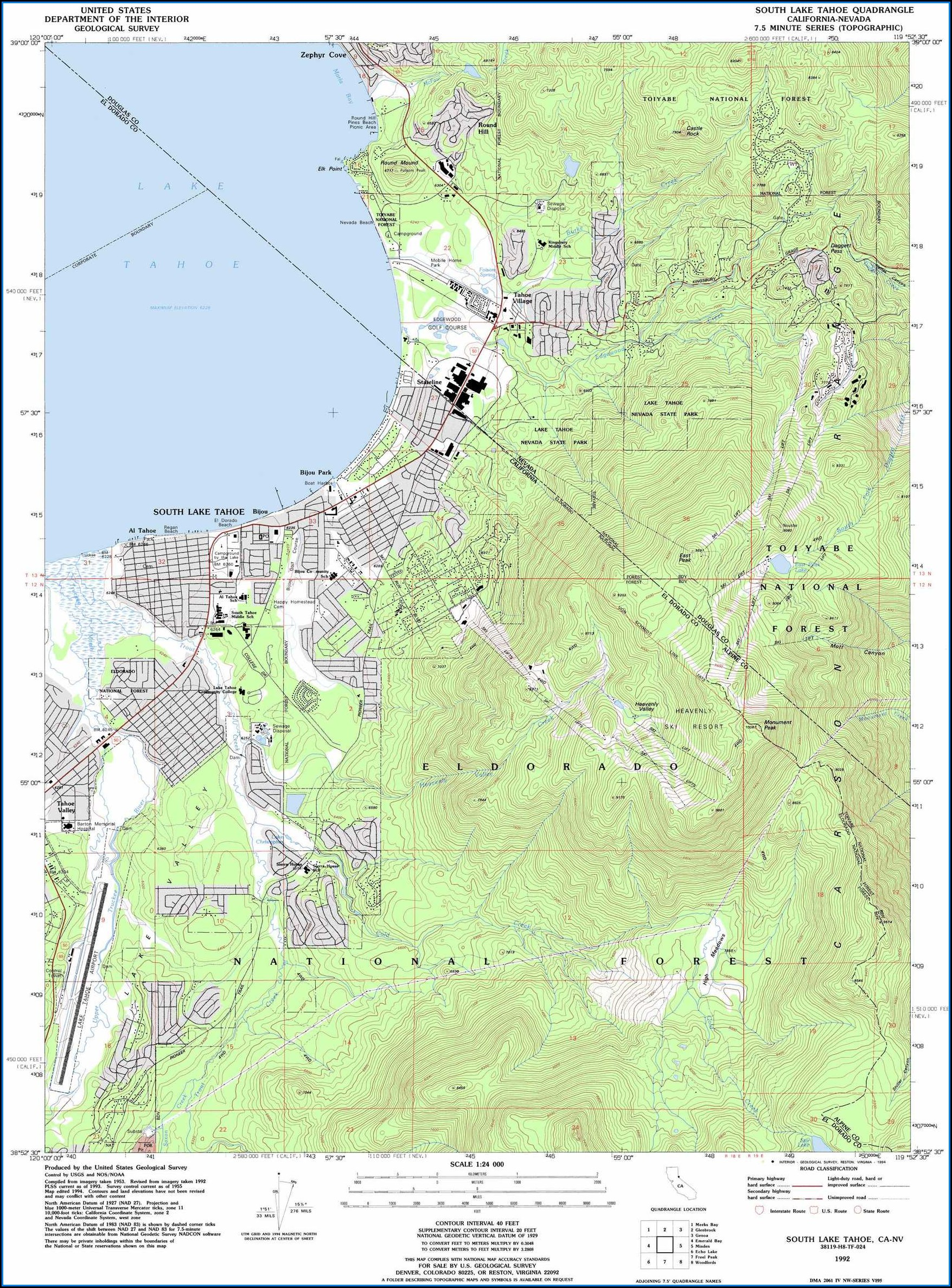 Lake Tahoe Topo Map