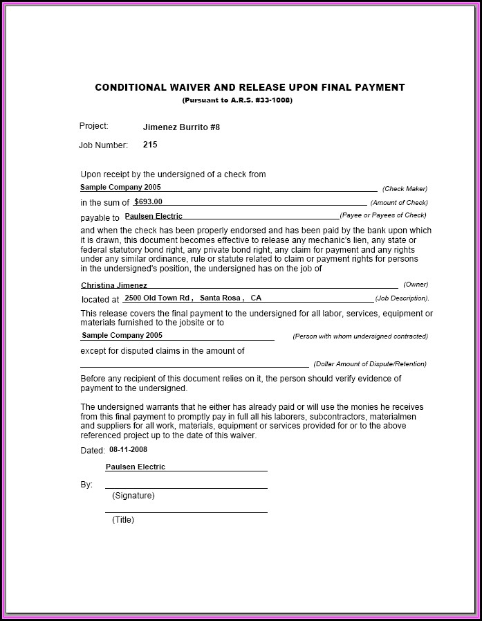 Conditional Lien Waiver Form