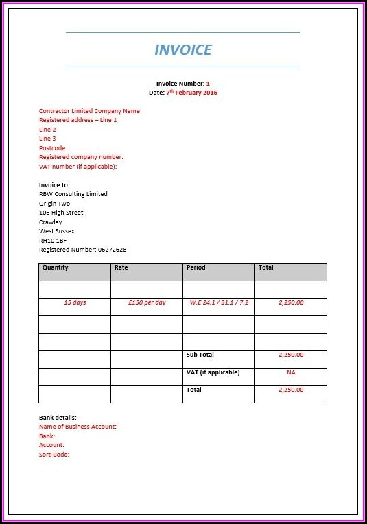 Contractor Invoice Example