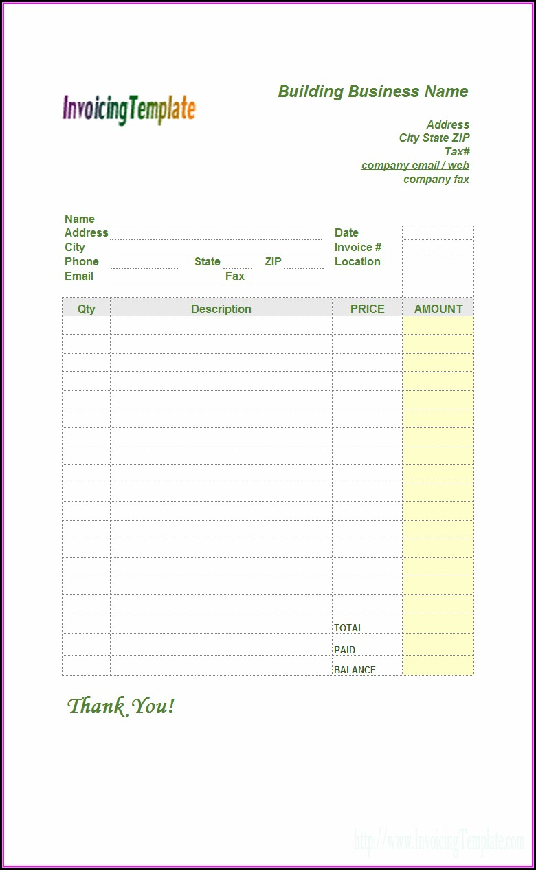 Contractor Invoice Form Download