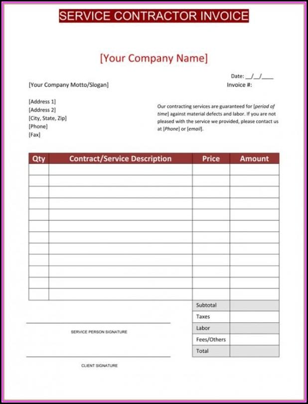 Contractor Invoice Sample