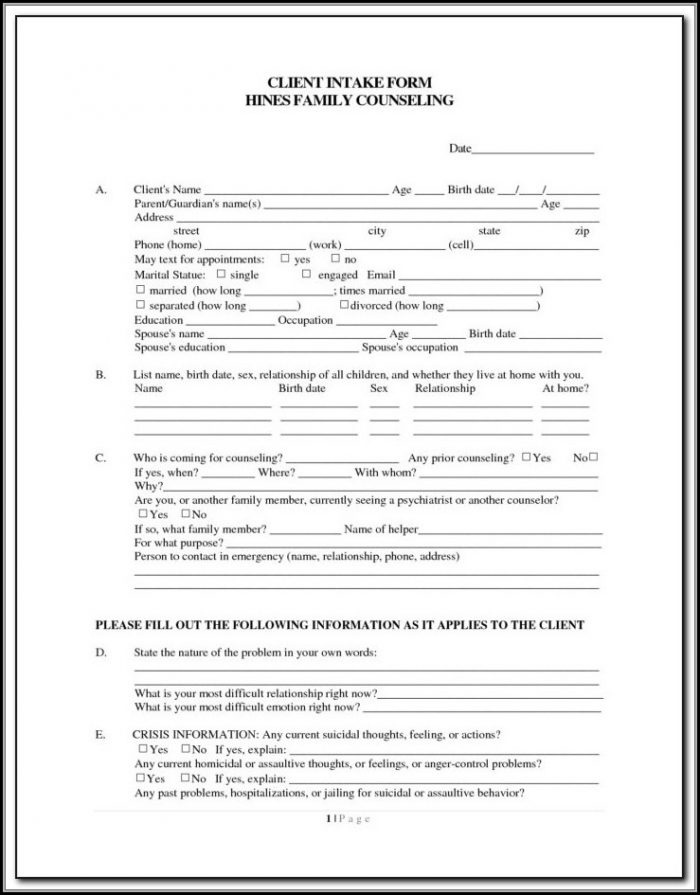 Couples Counseling Intake Form Template