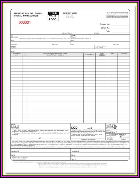 Custom Bill Of Lading Forms