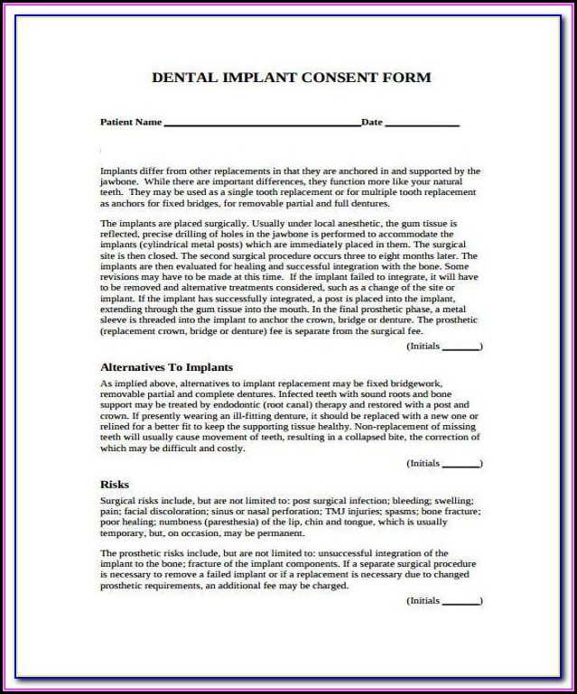 Dental Implant Consent Form Spanish