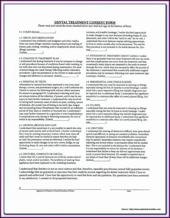 Dental Implant Removal Consent Form