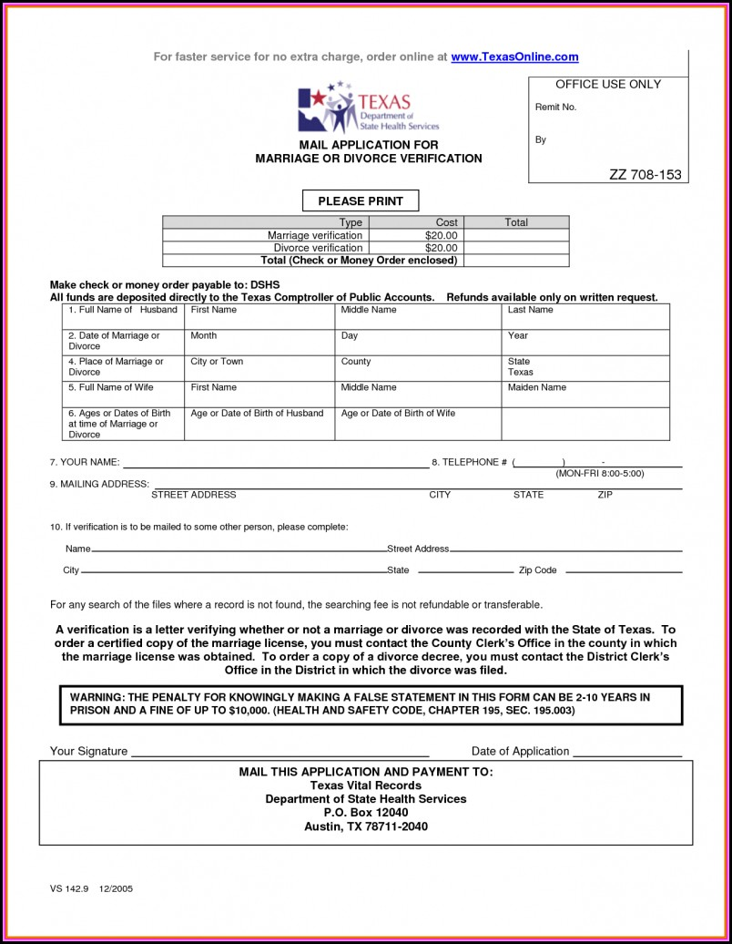 Divorce Document In Texas