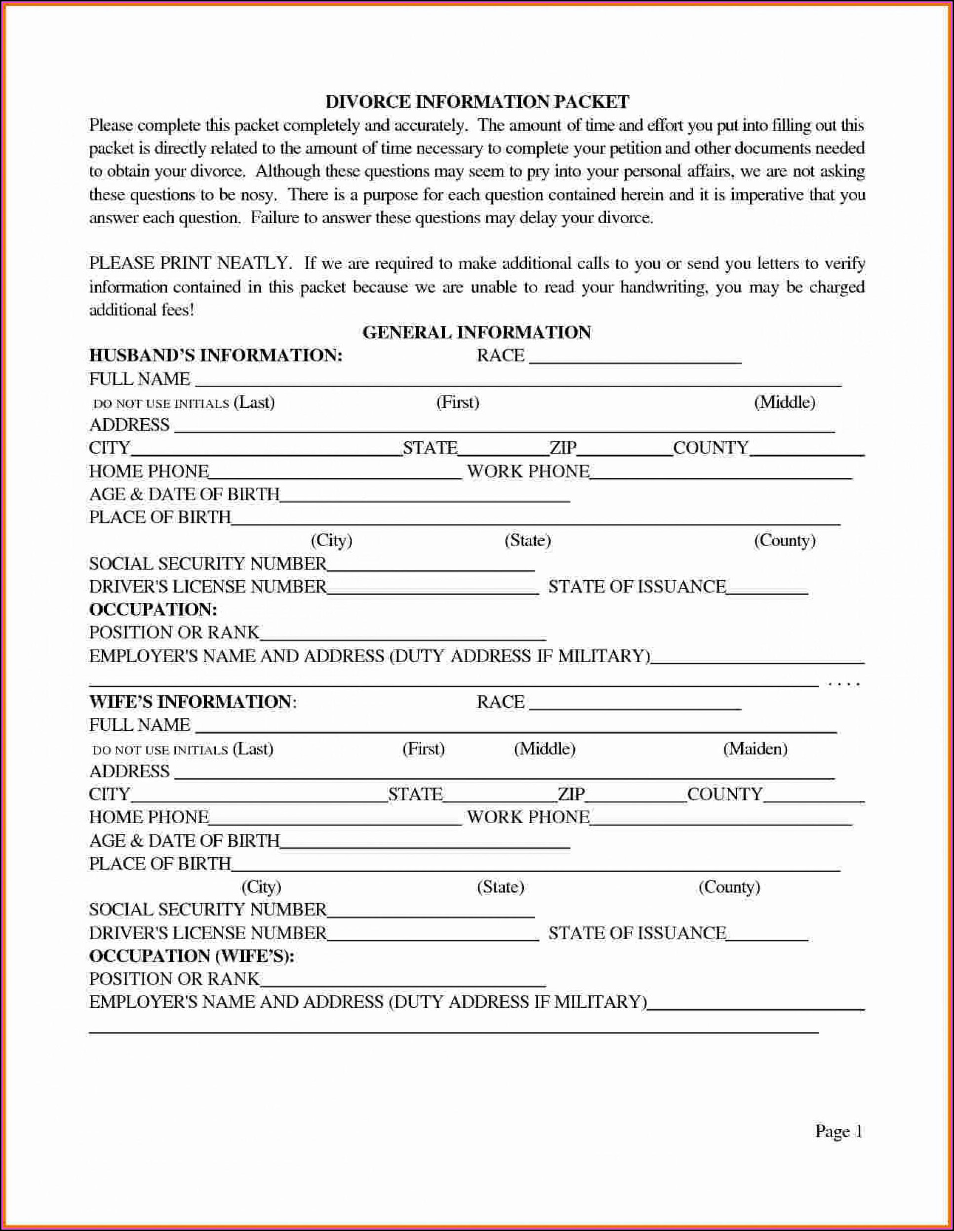 Divorce Forms In Texas