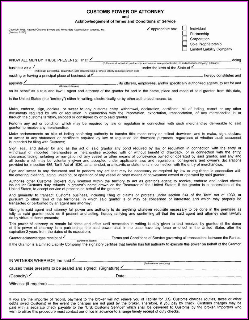 Durable Power Of Attorney Form Florida 2017