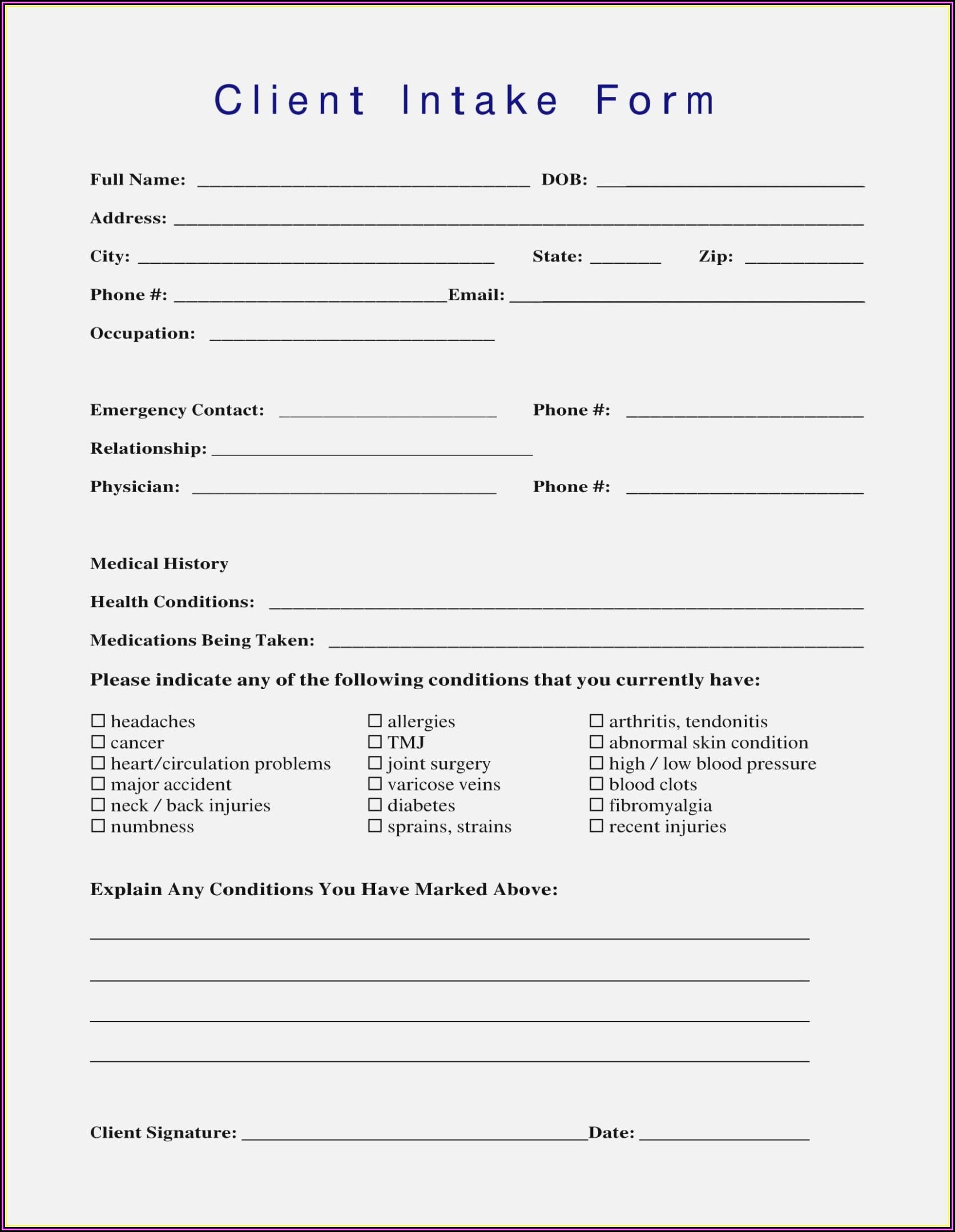 Esthetician Client Intake Form Template