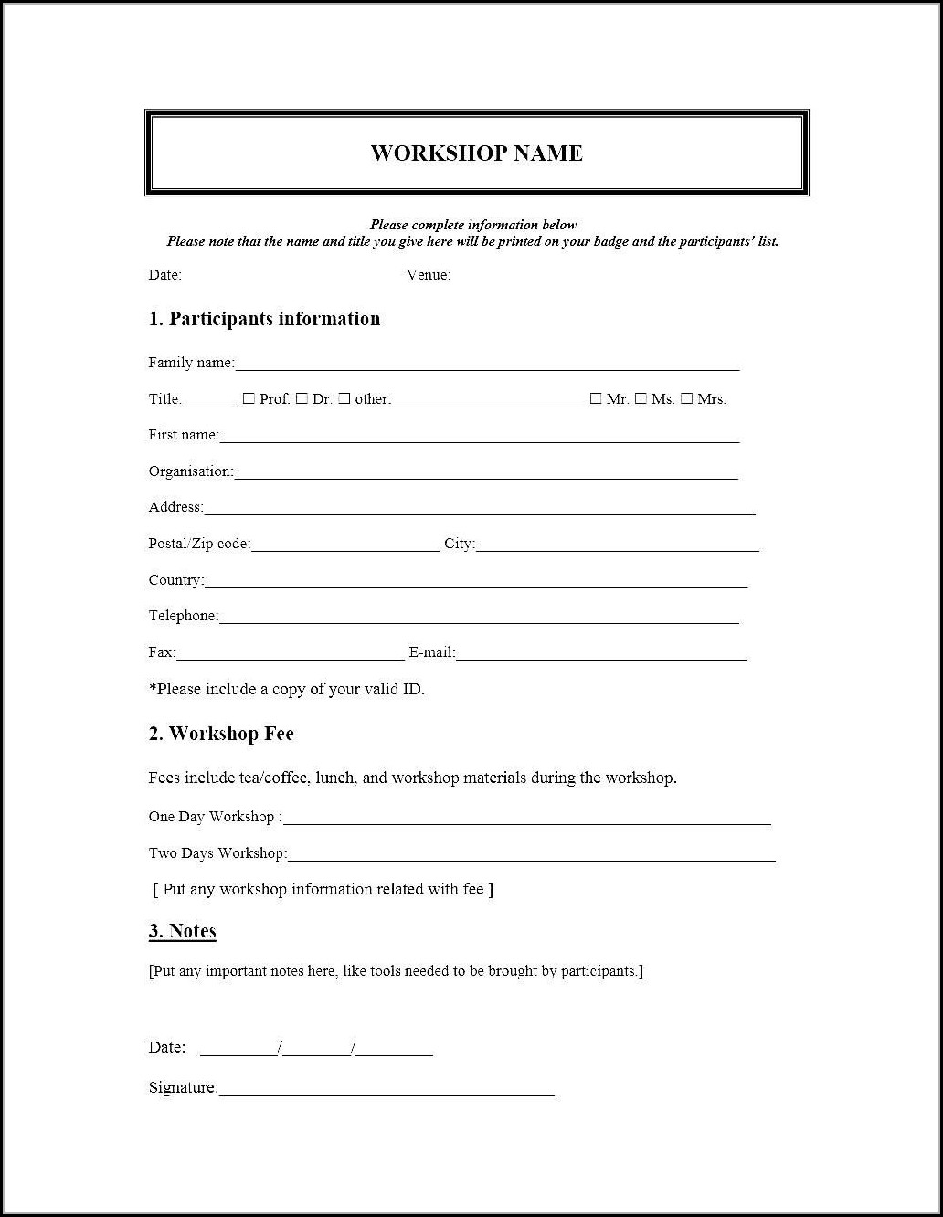 Event Registration Form Template Microsoft Word