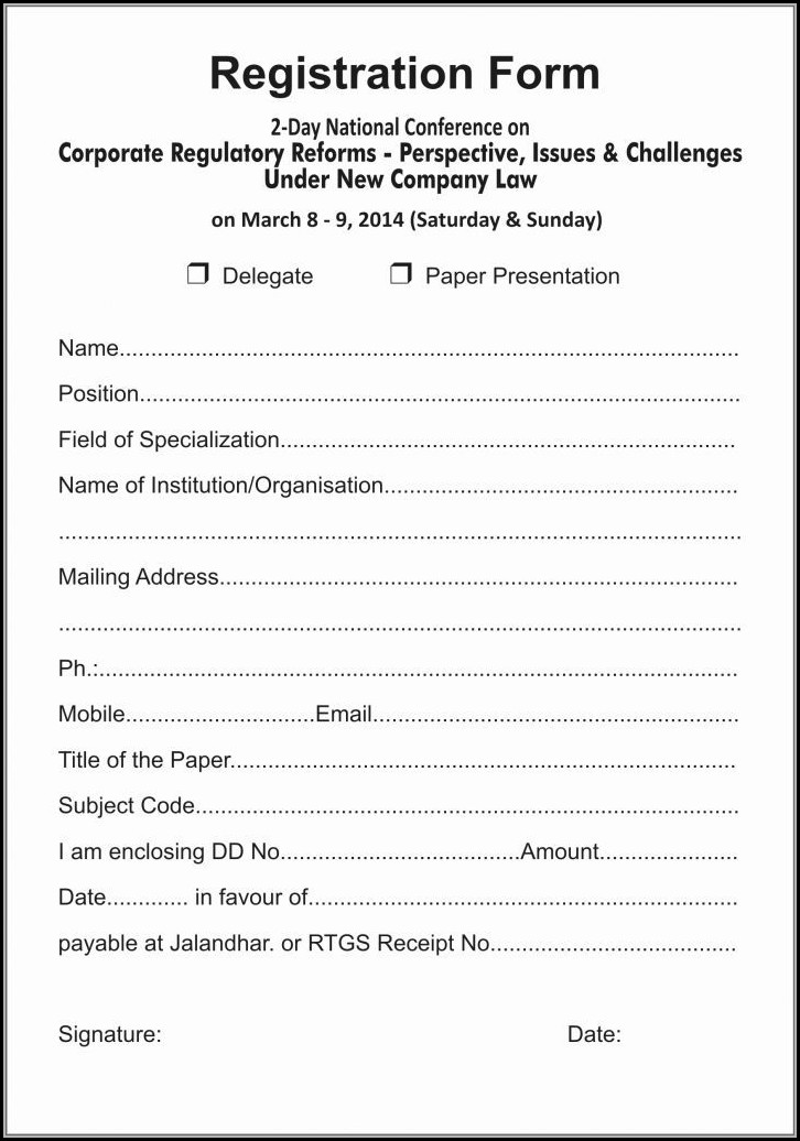 Event Registration Form Template Word