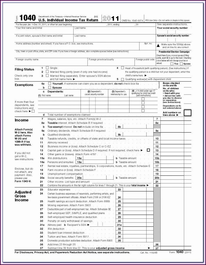 Fillable 1040 Form 2011