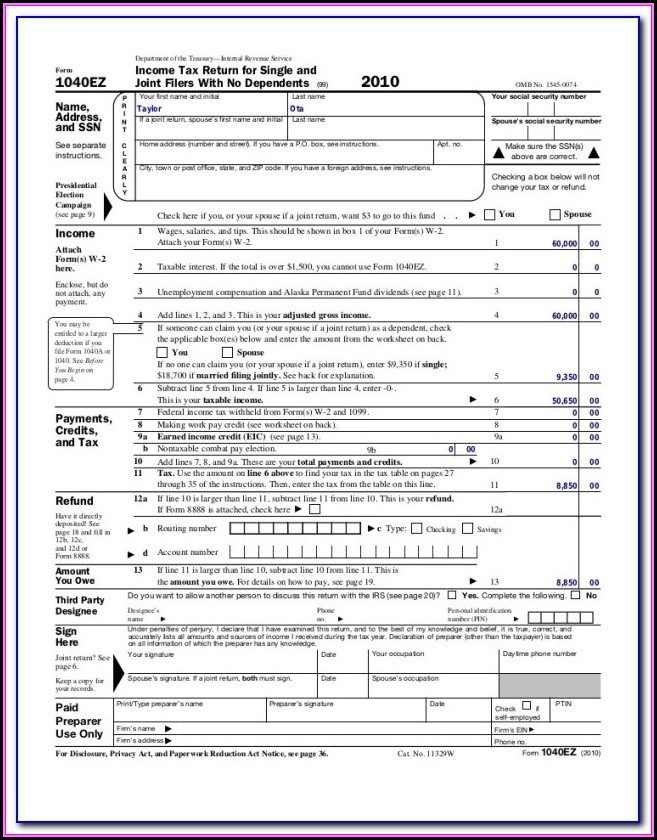 Fillable 1040 Form 2018