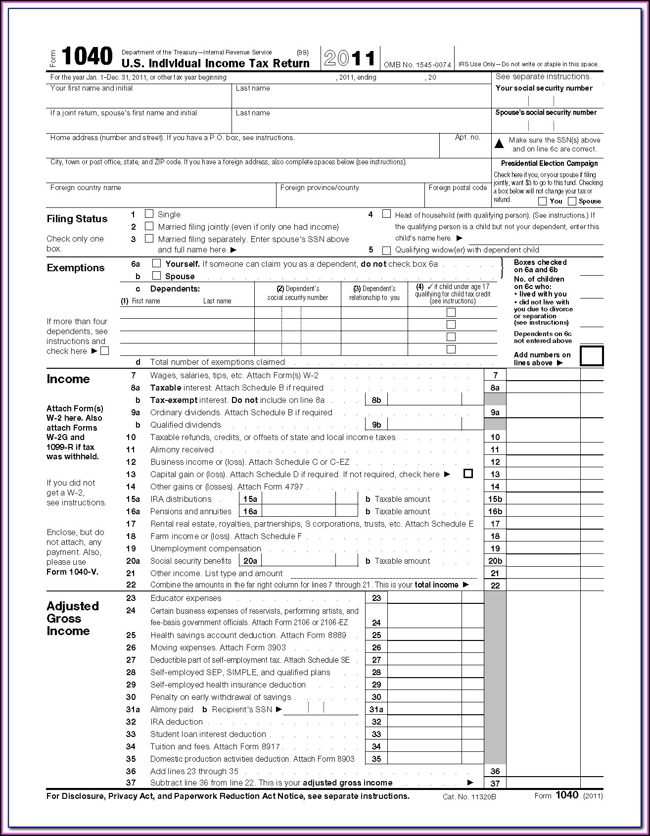 Fillable Form 1040ez