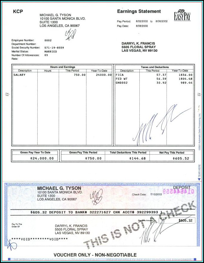 Earnings Statement Template Free