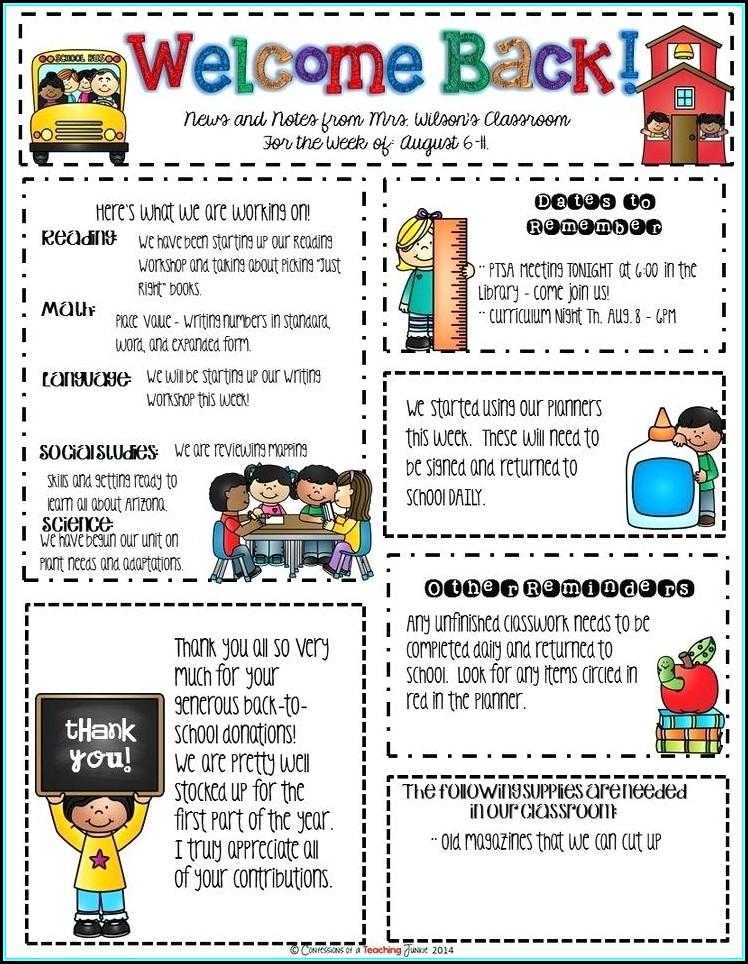 Elementary School Newsletter Template Free