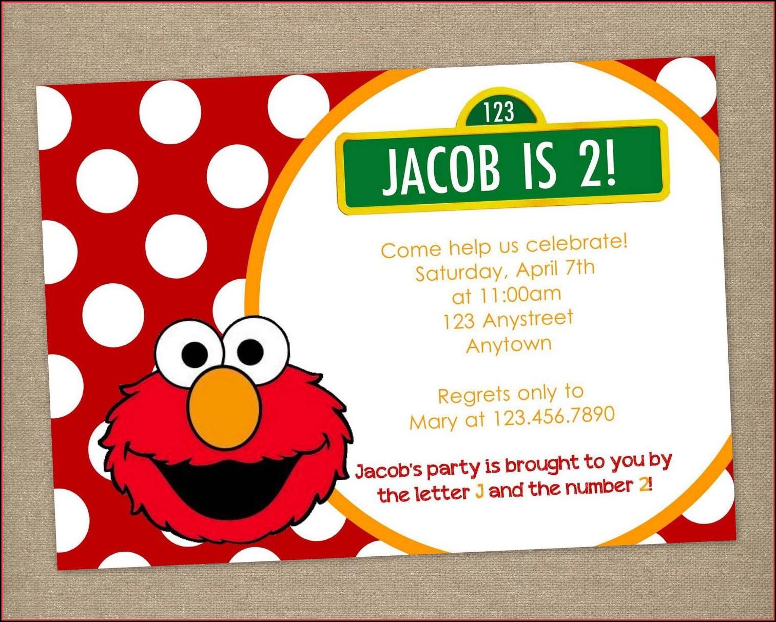 Elmo Birthday Party Invitations Templates