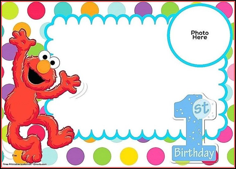 Elmo Invitation Card Template