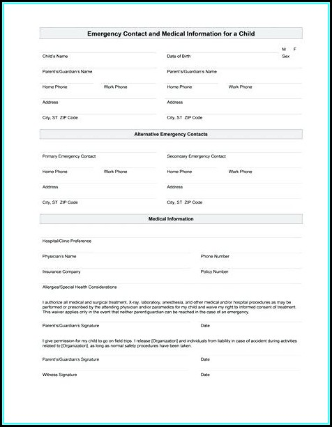 Emergency Contact Medical Information Form Template