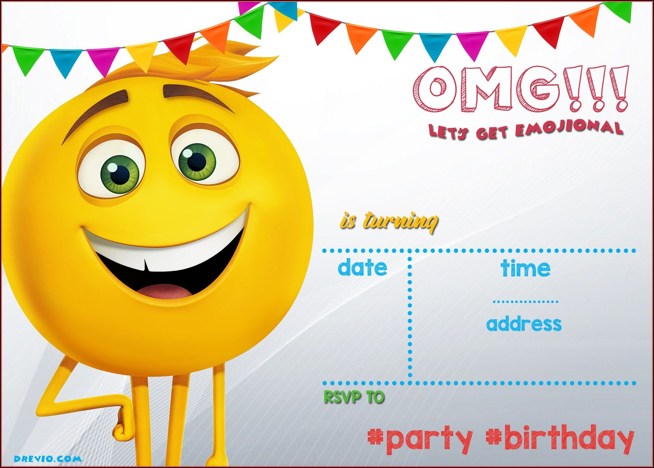 Emoji Birthday Invitation Template Free