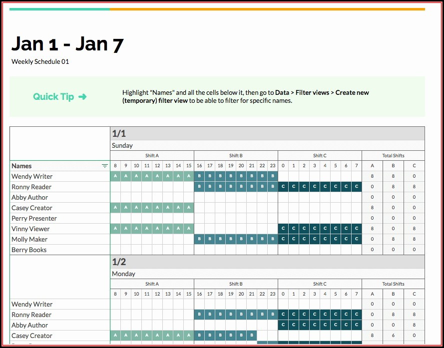 Employee Shift Schedule Template Google Sheets