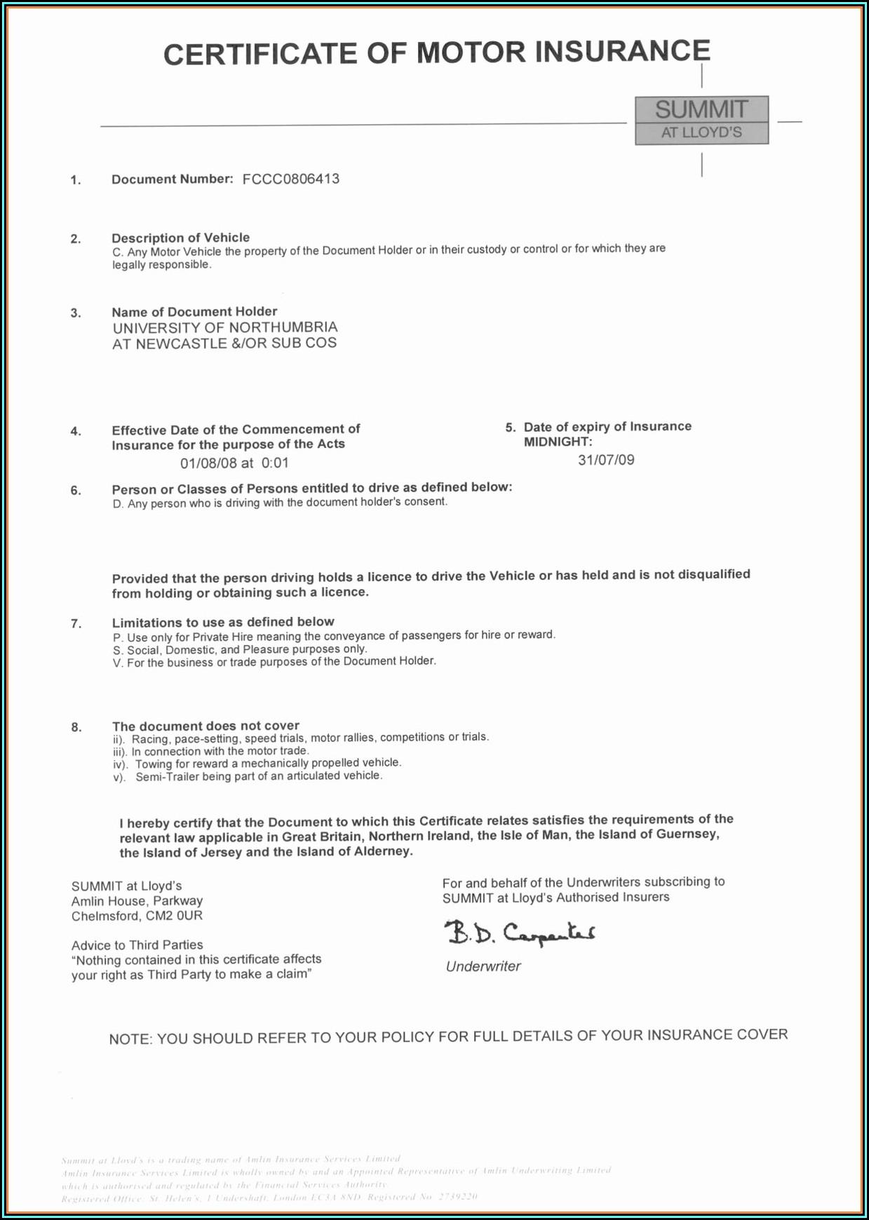 Fake Car Insurance Certificate Template