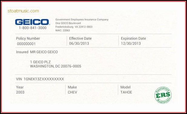 Fake Geico Insurance Card Template