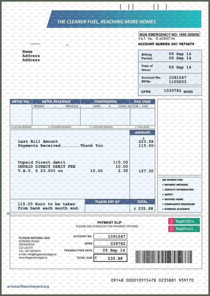 Fake Utility Bill Template Download Free