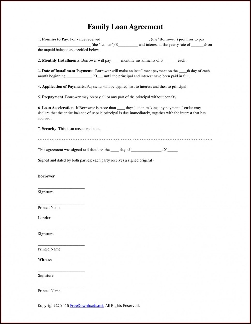 Family Loan Agreement Template Nz