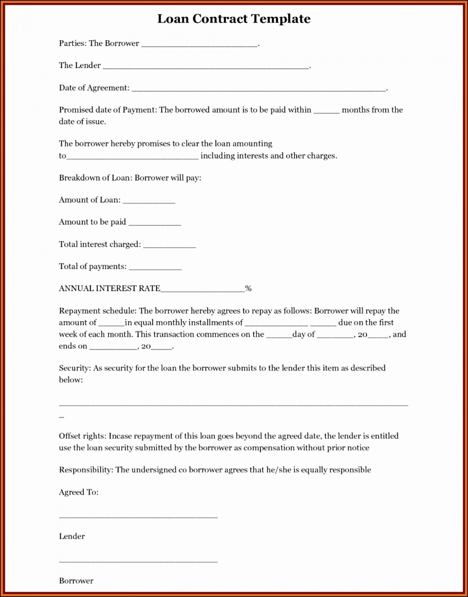 Family Loan Agreement Template Uk Free