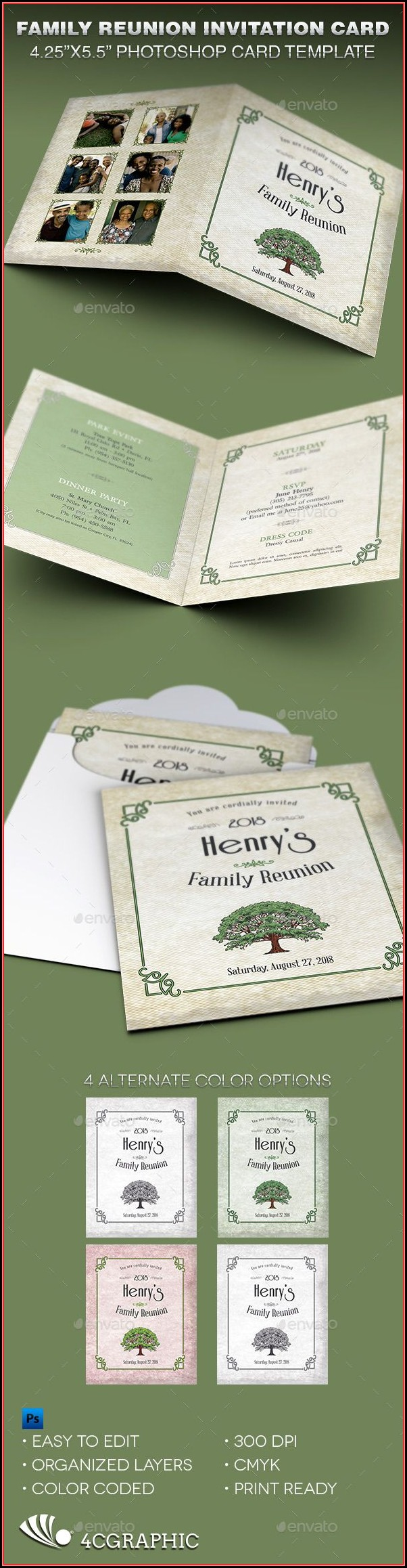 Family Reunion Invitation Card Templates